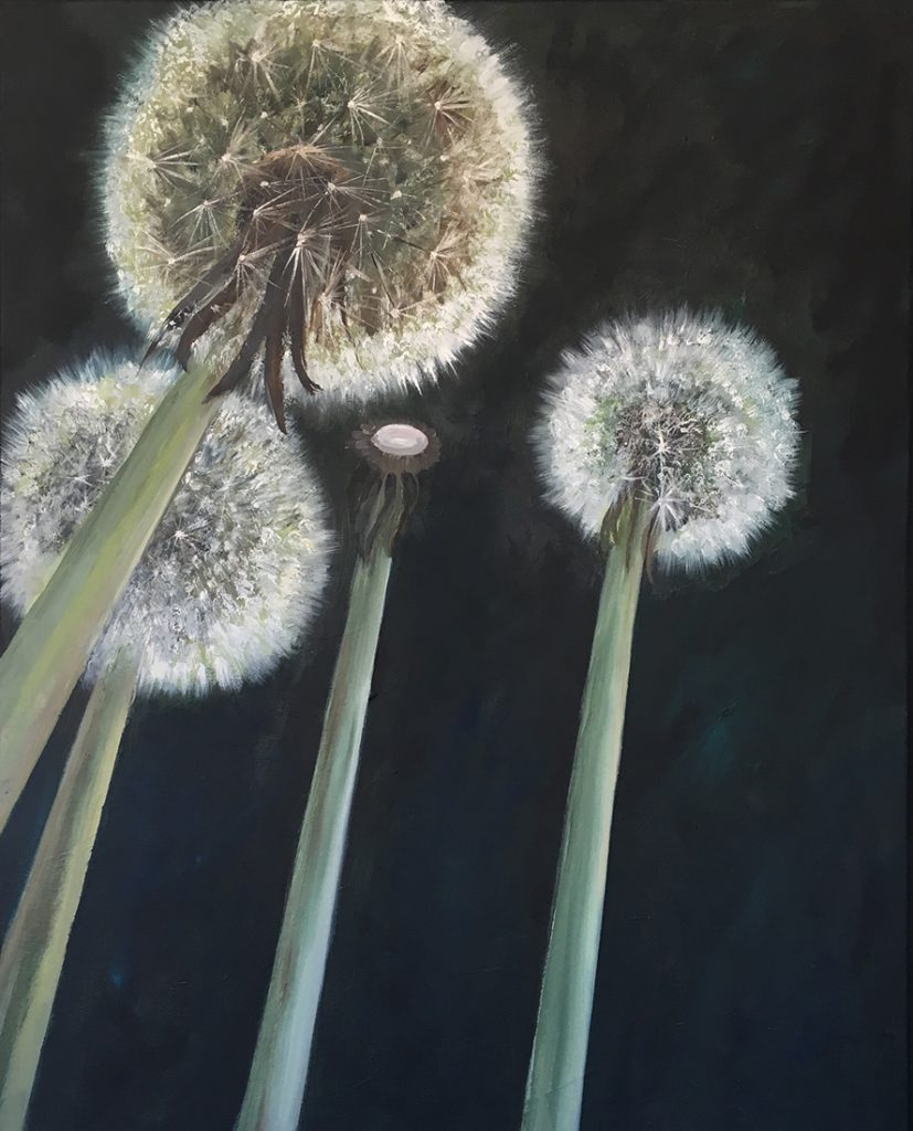 flowerscape nr 14 (dandelions) - 80x100 - olie op doek